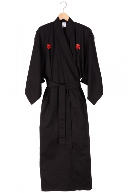 Men's Embroidered Samurai Kimono - Black