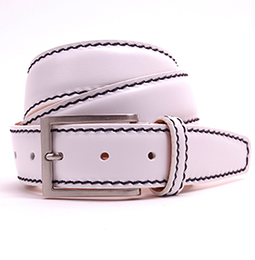 White Mariner Calf Leather Belt