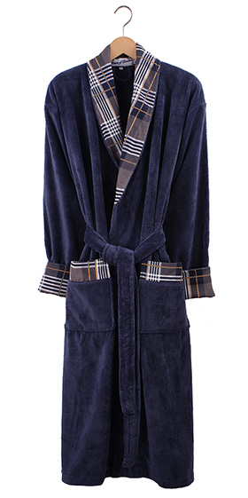 Bown Dressing Gown - Tartan Denim