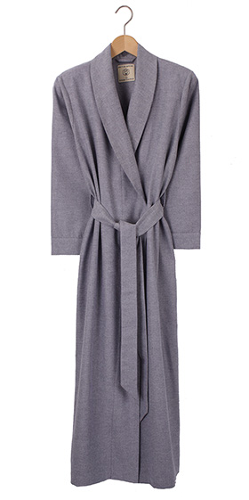 British Boxers Ladies Robe - Ash Grey Herringbone