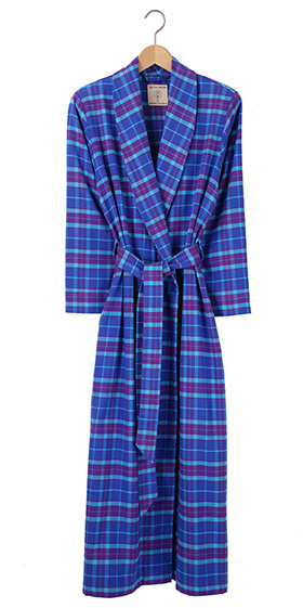 British Boxers Ladies Robe - Ultra Violet Check