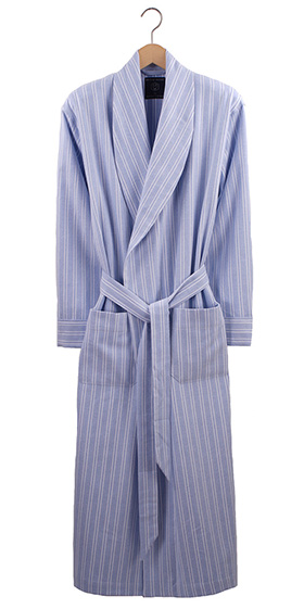 British Boxers Men's Robe - Blue & White Stripe Flannel