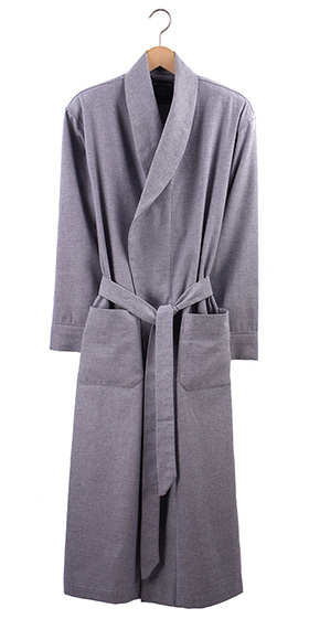 British Boxers Men's Robe - Ash Grey Herringbone
