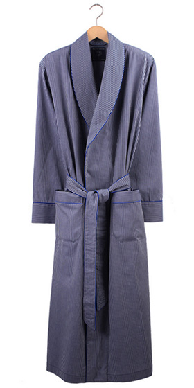 British Boxers Men's Robe - Minster Navy/Silver Jacquard Stripe