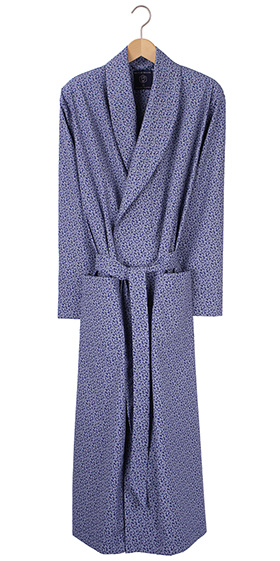 British Boxers Men's Robe - Navy Paisley Poplin