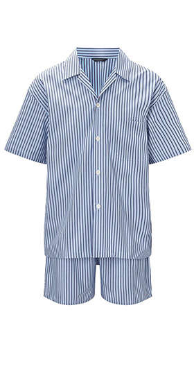 Bonsoir Short Pyjama Set - Blue and White Stripe