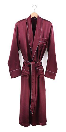 Bonsoir Dressing Gown - Bordeaux Silk