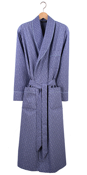 Bonsoir Men's Dressing Gown - Navy Paisley Cotton Poplin