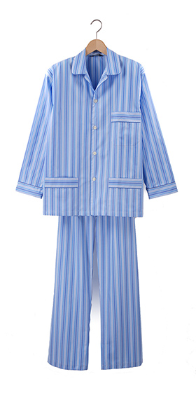 Bonsoir Pyjamas - Multi Blue Stripe Two-Fold Cotton