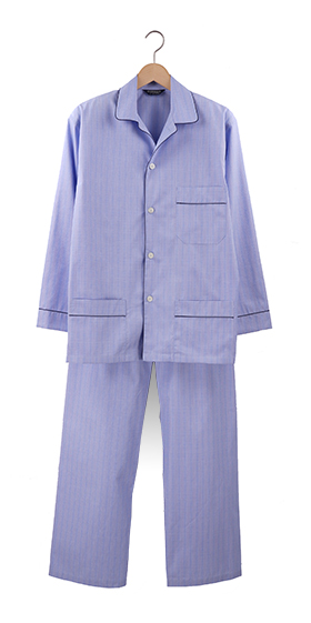 Bonsoir Pyjamas - Blue Check Two-Fold Cotton
