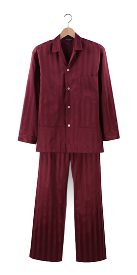 Bonsoir Pyjamas - Bordeaux Satin Stripe Cotton