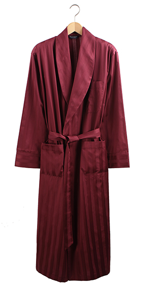 Bonsoir Dressing Gown - Bordeaux Satin Stripe