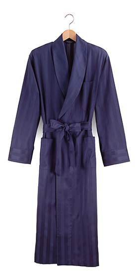 Bonsoir Dressing Gown - Navy Satin Stripe