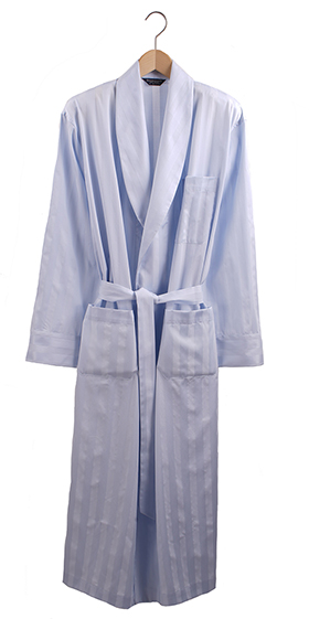 Bonsoir Dressing Gown - Sky Satin Stripe