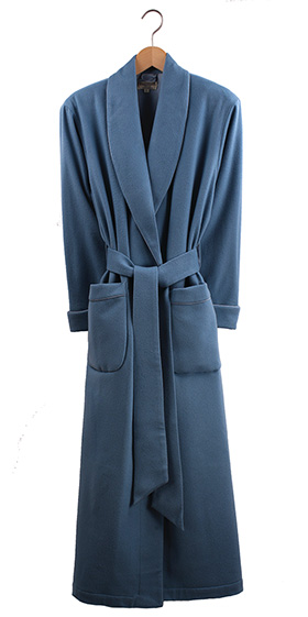 Bonsoir Ladies Dressing Gown - Duck Egg Blue Cashmere - Silk Lined