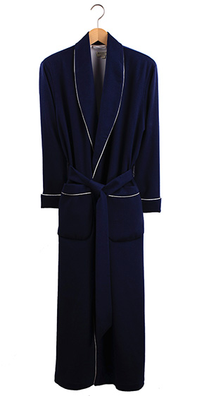 Bonsoir Ladies Dressing Gown - Navy Cashmere - Silk Lined