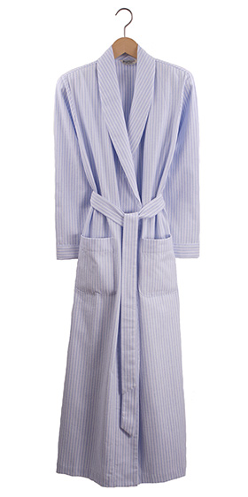 Bonsoir Ladies Dressing Gown - Blue Stripe Brushed Cotton