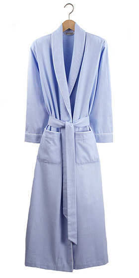 Bonsoir Ladies Dressing Gown - Blue Herringbone Brushed Cotton