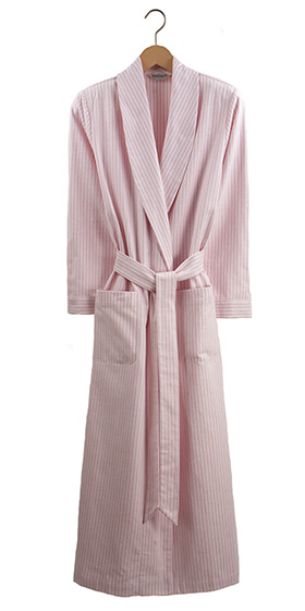 Bonsoir Ladies Dressing Gown - Pink  Stripe Brushed Cotton