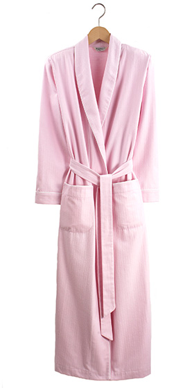 Bonsoir Ladies Dressing Gown - Pink Herringbone Brushed Cotton