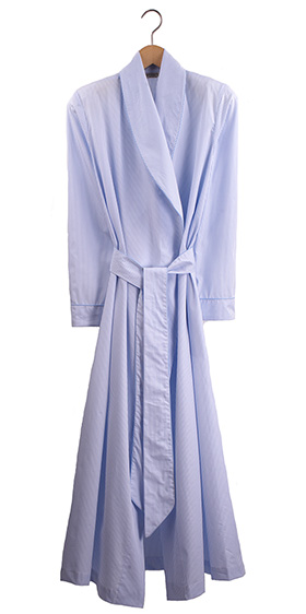 Bonsoir Ladies Dressing Gown - Blue Stripe Cotton Poplin