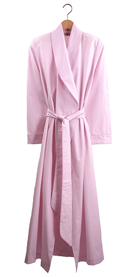 Bonsoir Ladies Dressing Gown - Pink Stripe Cotton Poplin