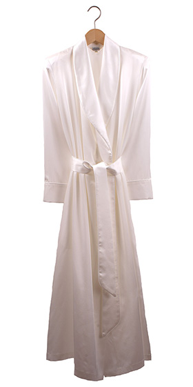 Bonsoir Ladies Dressing Gown - Silk Satin - Ivory