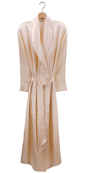 Bonsoir Ladies Dressing Gown - Silk Satin - Pearl