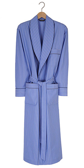 Bonsoir Mens Dressing Gown - Two-Fold Cotton -Blue