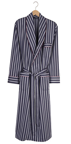 Bonsoir Mens Dressing Gown - Two-Fold Cotton - Navy Stripe