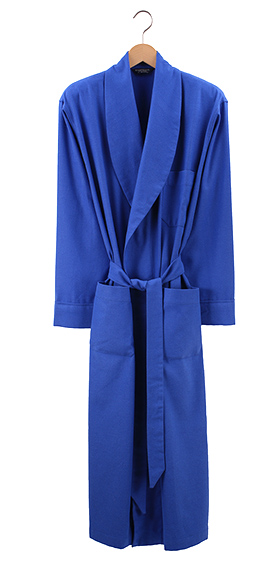 Bonsoir Mens Dressing Gown - Bright Blue Herringbone