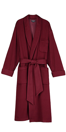 Bonsoir Men's Dressing Gown - Bordeaux Cashmere - Silk Lined