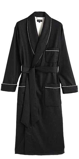 Bonsoir Mens Dressing Gown - Charcoal Grey Italian Wool