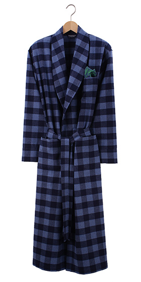 Bonsoir Mens Dressing Gown - Howard Navy Check