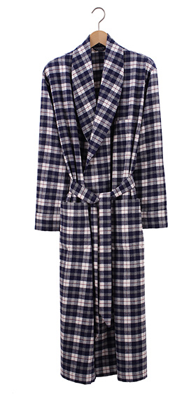 Bonsoir Mens Dressing Gown - McKellen Navy Check