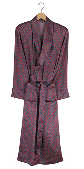 Bonsoir Mens Silk Dressing Gown - Wine Motif