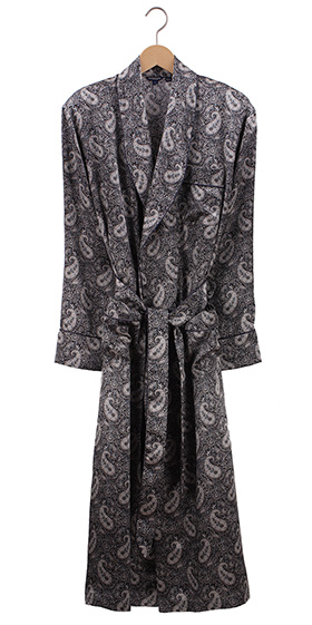 Bonsoir Mens Robe - Silk Paisley - Grey