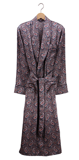 Bonsoir Mens Robe - Silk Paisley - Red