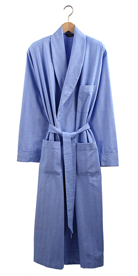 Bonsoir Men's Dressing Gown - Sky Herringbone