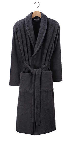 Bonsoir Unisex Towelling Robe - Charcoal