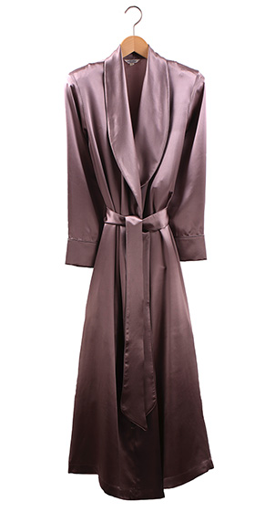 Bonsoir Ladies Dressing Gown - Silk Satin - Mink