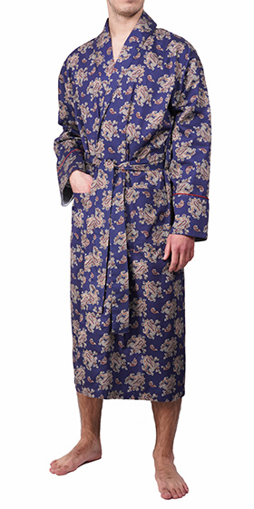 Bown Dressing Gown - Gatsby Blue Paisley
