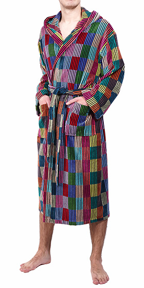 Bown Dressing Gown -Patchwork Velours Stripe