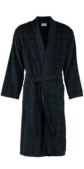 Cawö Cotton Prince of Wales Velours Bath Robe - Black