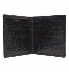 Black Embossed Crocodile Billfold Wallet
