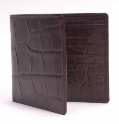 Embossed Crocodile Billfold Wallet - Dark Brown