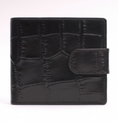 Crocodile Embossed Leather Tab-Close Wallet - Black