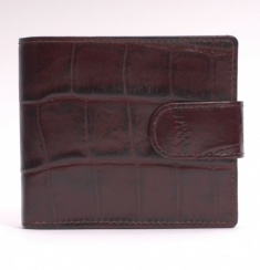 Crocodile Embossed Leather Tab-Close Wallet - Brown