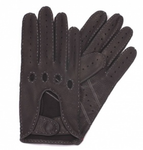 Black Deerskin Driving Gloves