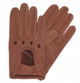Dents Men's Deerskin Driving Gloves - Havana